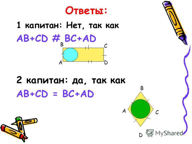 Ответы: 1 капитан: Нет, так как AB+CD # BC+AD 2 капитан: да, так как AB+CD = BC+AD А В С D А В С D