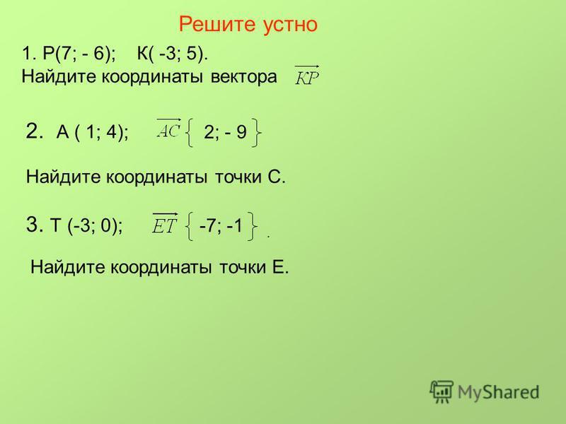 Решите устно 1.Р(7; - 6); К( -3; 5). Найдите координаты вектора 2. А ( 1; 4); 2; - 9 Найдите координаты точки С. 3. Т (-3; 0); -7; -1. Найдите координаты точки Е.