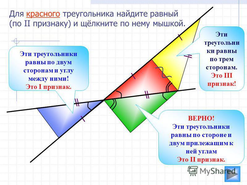 Для красного треугольника найдите равный (по II признаку) и щёлкните по нему мышкой. ВЕРНО! Эти треугольники равны по стороне и двум прилежащим к ней углам Это II признак. Эти треугольники равны по трем сторонам. Это III признак! Эти треугольники рав