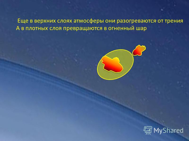 Еще в верхних слоях атмосферы они разогреваются от трения А в плотных слоя превращаются в огненный шар