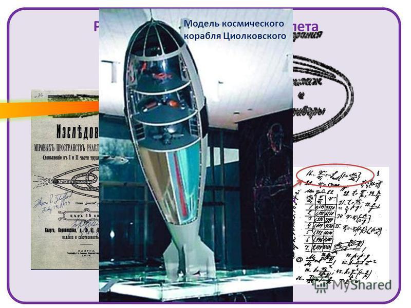 Ракета для космического полета Теоретически обосновал применение реактивного двигателя для космических полетов Формула Циолковского для расчета скорости ракеты Модель космического корабля Циолковского