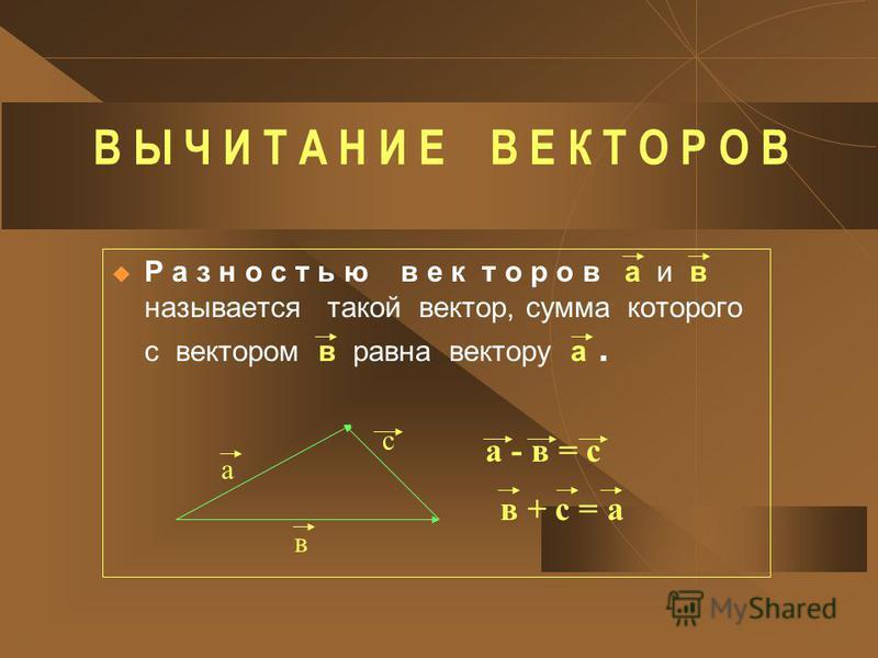 В Ы Ч И Т А Н И Е В Е К Т О Р О В Р а з н о с т ь ю в е к т о р о в а и в называется такой вектор, сумма которого с вектором в равна вектору а. а в с а - в = с в + с = а