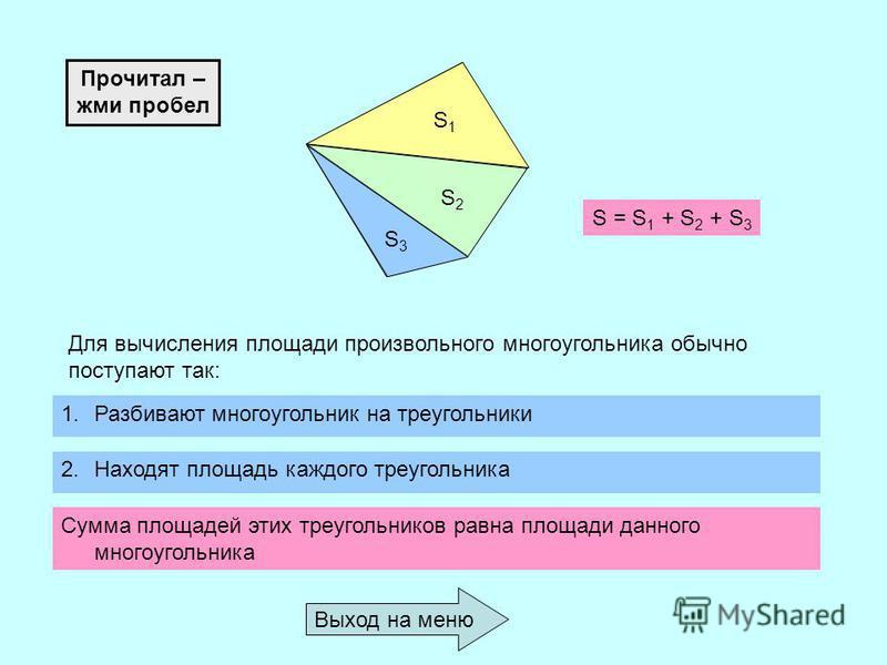 S1S1 S2S2 S3S3 Для вычисления площади произвольного многоугольника обычно поступают так: 1. Разбивают многоугольник на треугольники 2. Находят площадь каждого треугольника Сумма площадей этих треугольников равна площади данного многоугольника S = S 1