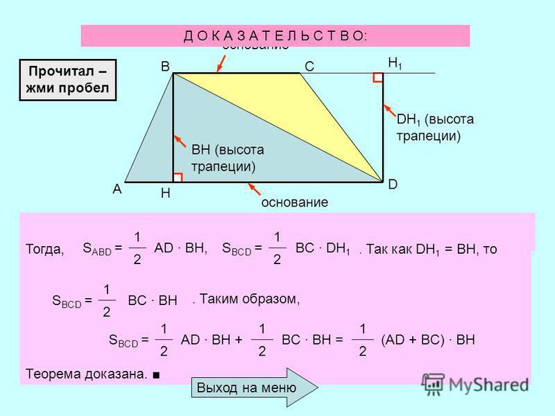 Докажем, что: Т Е О Р Е М А Площадь трапеции равна произведению полусуммы ее оснований на высоту. Используя прием вычисления площади многоугольника, разбиением на треугольники, выведем формулу для вычисления площади трапеции. Условимся высотой трапец