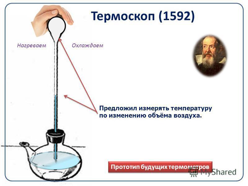Термоскоп (1592) Прототип будущих термометров Предложил измерять температуру по изменению объёма воздуха. Нагреваем Охлаждаем