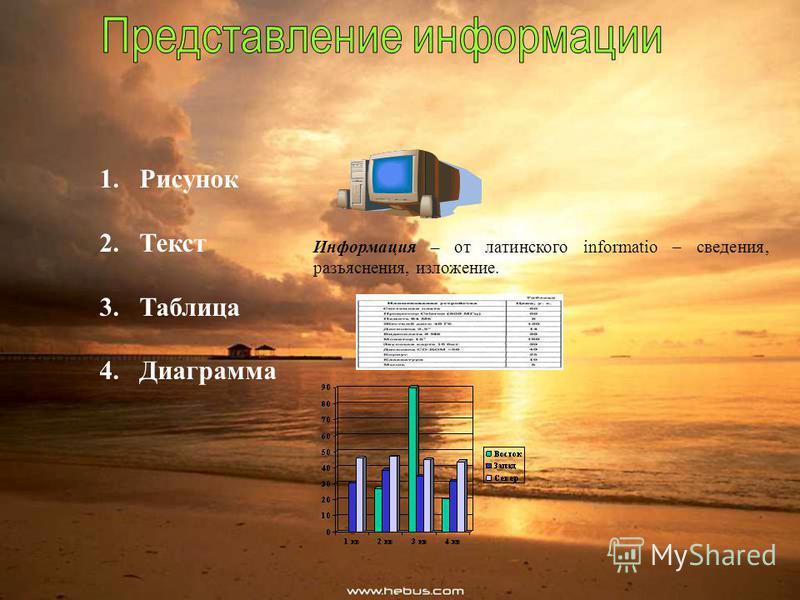 1. Рисунок 2. Текст 3. Таблица 4. Диаграмма Информация – от латинского informatio – сведения, разъяснения, изложение.