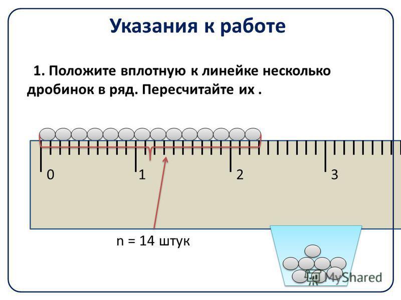 Указания к работе 1. Положите вплотную к линейке несколько дробинок в ряд. Пересчитайте их. 0123 n = 14 штук