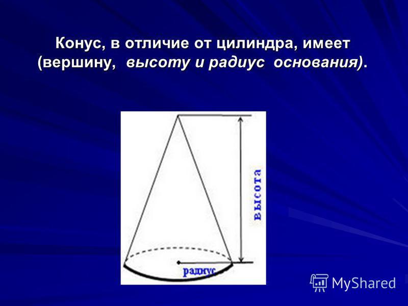 10. Конус, в отличие от цилиндра, имеет…?
