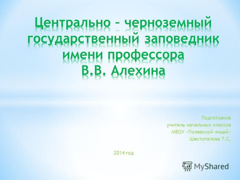 Подготовила учитель начальных классов МБОУ «Полевской лицей» Шестопалова Т.С. 2014 год