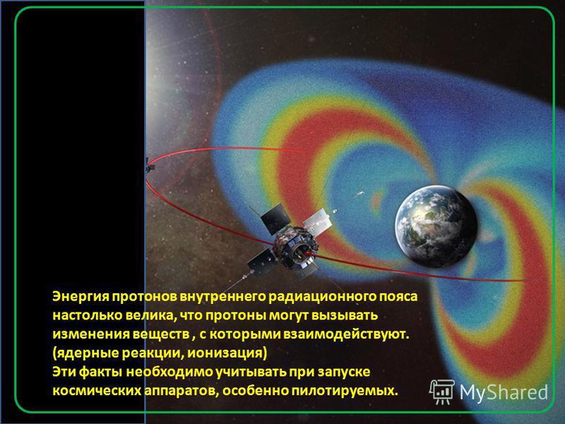 Энергия протонов внутреннего радиационного пояса настолько велика, что протоны могут вызывать изменения веществ, с которыми взаимодействуют. (ядерные реакции, ионизация) Эти факты необходимо учитывать при запуске космических аппаратов, особенно пилот