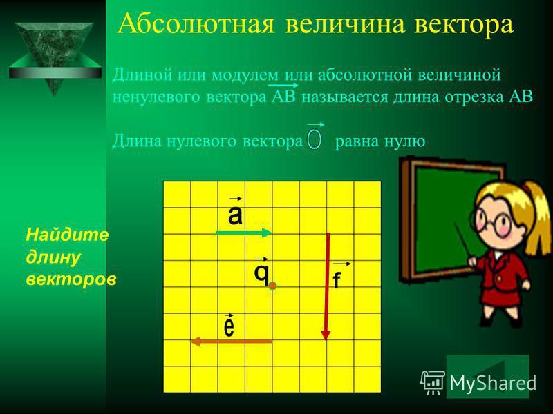 Длиной или модулем или абсолютной величиной ненулевого вектора АВ называется длина отрезка АВ Длина нулевого вектора равна нулю Найдите длину векторов Абсолютная величина вектора