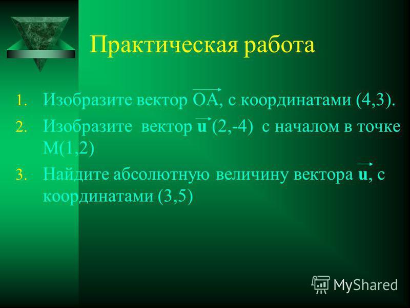 Практическая работа 1. Изобразите вектор ОА, с координатами (4,3). 2. Изобразите вектор u (2,-4) с началом в точке М(1,2) 3. Найдите абсолютную величину вектора u, с координатами (3,5)