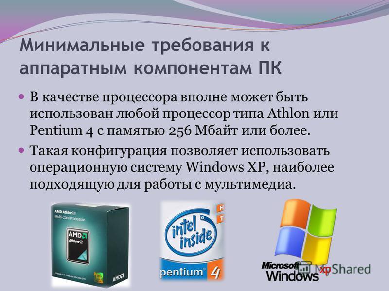 Программные драйверы устройств и программы воспроизведения звука и видео Носители мультимедиа-информации CD, DVD - диски