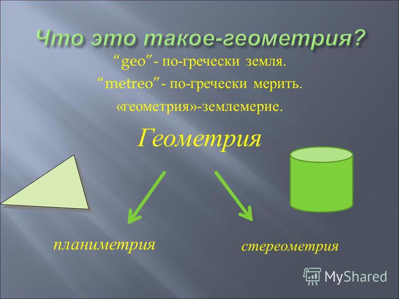 geo- по - гречески земля. metreo- по - гречески мерить. « геометрия »- землемерие. Геометрия планиметрия стереометрия