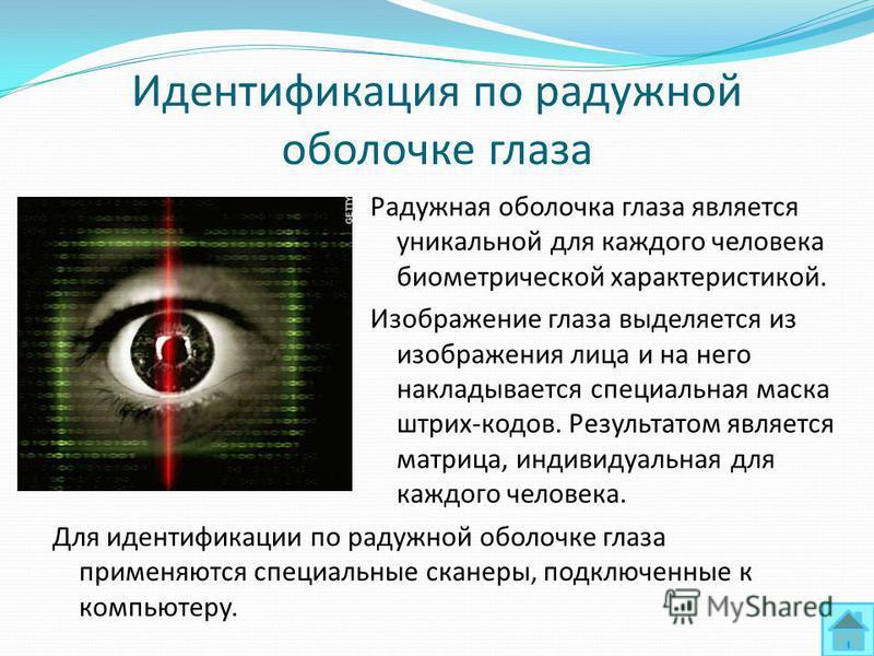 Идентификация по радужной оболочке глаза Для идентификации по радужной оболочке глаза применяются специальные сканеры, подключенные к компьютеру. Радужная оболочка глаза является уникальной для каждого человека биометрической характеристикой. Изображ