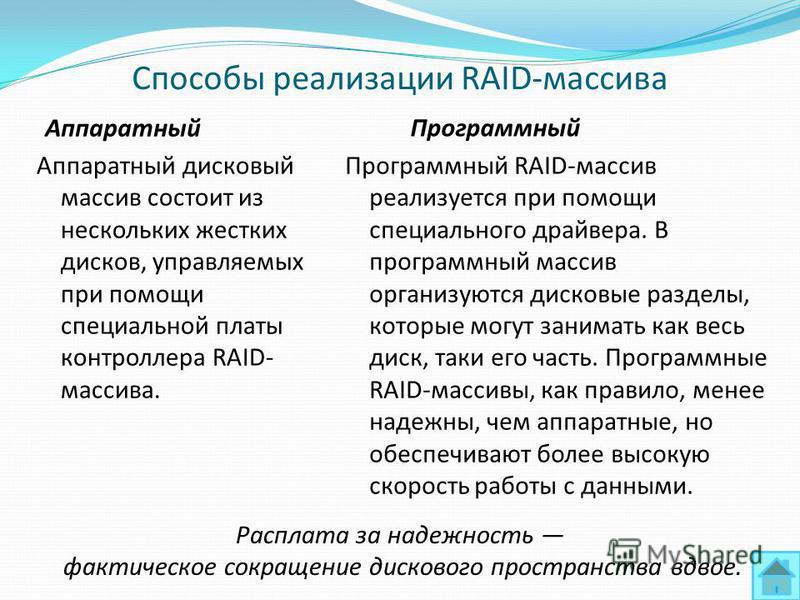 Способы реализации RAID-массива Аппаратный Аппаратный дисковый массив состоит из нескольких жестких дисков, управляемых при помощи специальной платы контроллера RAID- массива. Программный Программный RAID-массив реализуется при помощи специального др