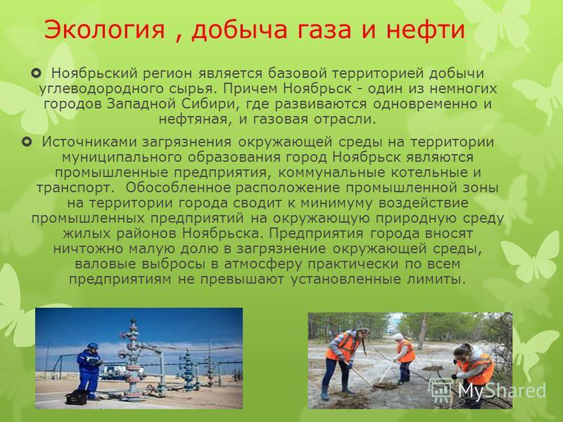 Экология, добыча газа и нефти Ноябрьский регион является базовой территорией добычи углеводородного сырья. Причем Ноябрьск - один из немногих городов Западной Сибири, где развиваются одновременно и нефтяная, и газовая отрасли. Источниками загрязнения