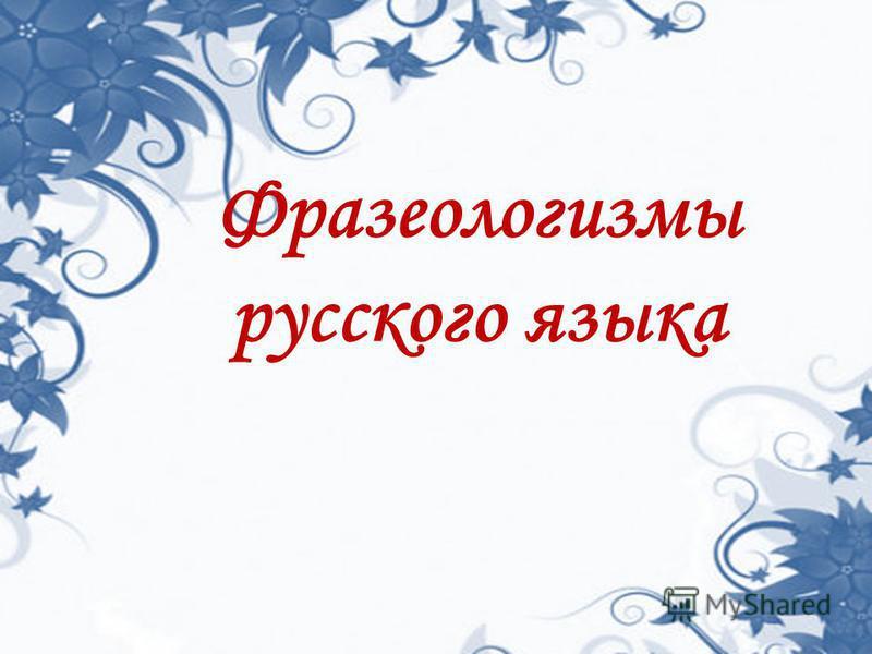 Фразеологизмы русского языка