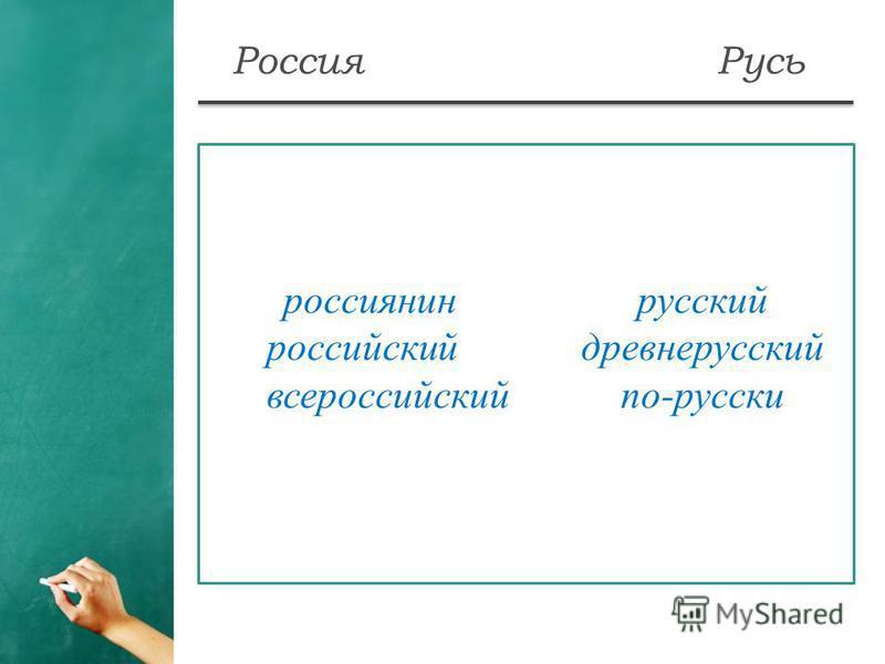 Россия Русь россиянин русскийй российский древнерусскийй всероссийскийпо-русский