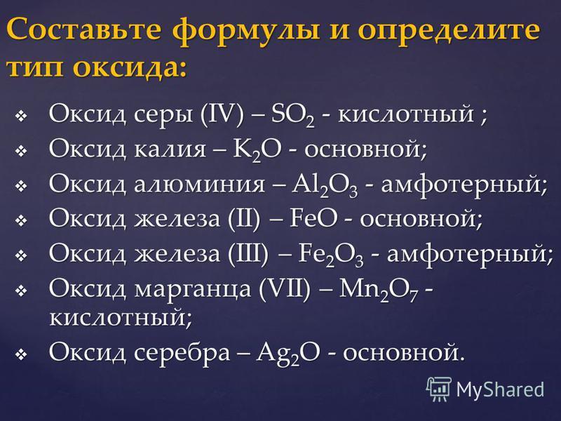 Оксид серы (IV) – SO 2 - кислотный ; Оксид серы (IV) – SO 2 - кислотный ; Оксид калия – K 2 O - основной; Оксид калия – K 2 O - основной; Оксид алюминия – Al 2 O 3 - амфотерный; Оксид алюминия – Al 2 O 3 - амфотерный; Оксид железа (II) – FeO - основн