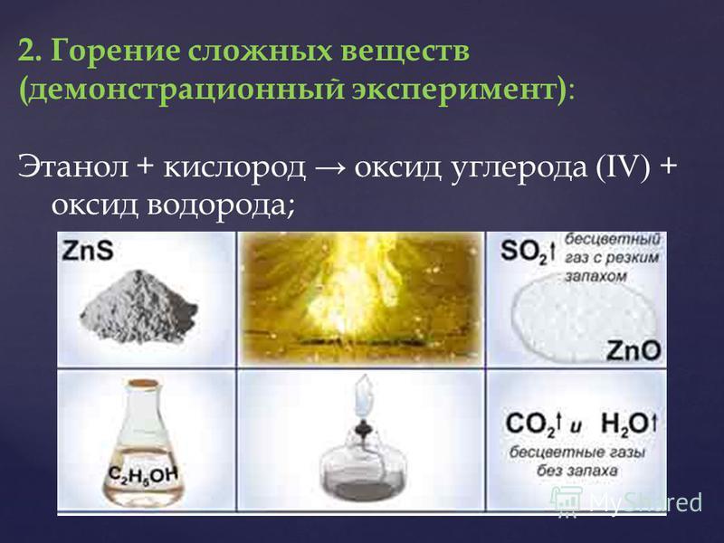 2. Горение сложных веществ (демонстрационный эксперимент) : Этанол + кислород оксид углерода (IV) + оксид водорода;