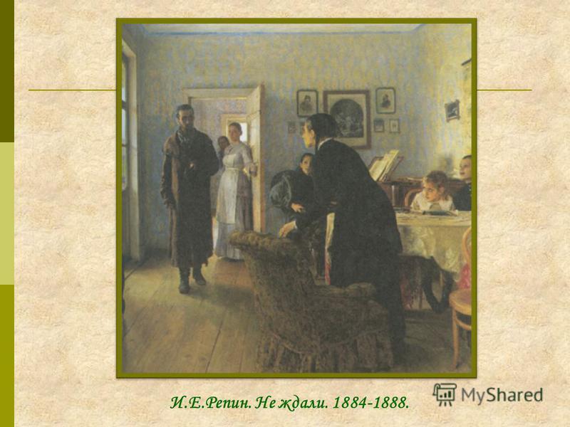 И.Е.Репин. Не ждали. 1884-1888.