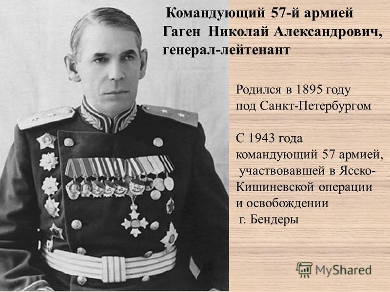Командующий 57-й армией Гаген Николай Александрович, генерал-лейтенант Родился в 1895 году под Санкт-Петербургом С 1943 года командующий 57 армией, участвовавшей в Ясско- Кишиневской операции и освобождении г. Бендеры