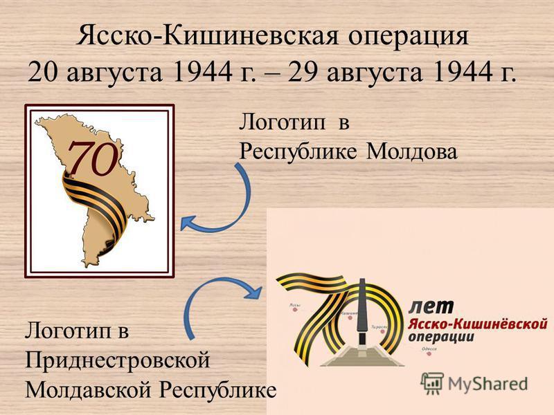 Ясско-Кишиневская операция 20 августа 1944 г. – 29 августа 1944 г. Логотип в Республике Молдова Логотип в Приднестровской Молдавской Республике
