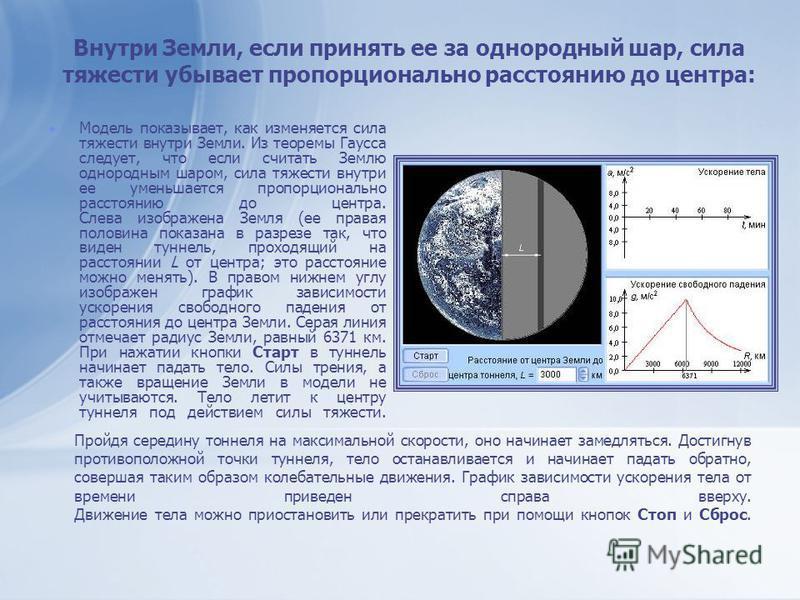 Внутри Земли, если принять ее за однородный шар, сила тяжести убывает пропорционально расстоянию до центра: Модель показывает, как изменяется сила тяжести внутри Земли. Из теоремы Гаусса следует, что если считать Землю однородным шаром, сила тяжести