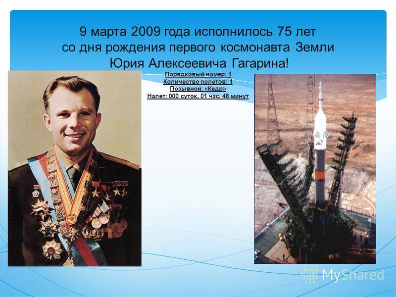 9 марта 2009 года исполнилось 75 лет со дня рождения первого космонавта Земли Юрия Алексеевича Гагарина! Порядковый номер: 1 Количество полетов: 1 Позывной: «Кедр» Налет: 000 суток, 01 час, 48 минут