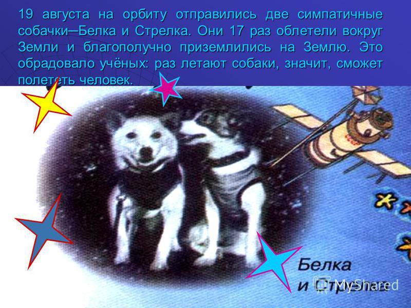 19 августа на орбиту отправились две симпатичные собачки Белка и Стрелка. Они 17 раз облетели вокруг Земли и благополучно приземлились на Землю. Это обрадовало учёных: раз летают собаки, значит, сможет полететь человек.