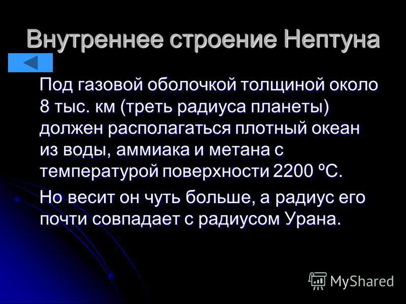 Внутреннее строение Нептуна Под газовой оболочкой толщиной около 8 тыс. км (треть радиуса планеты) должен располагаться плотный океан из воды, аммиака и метана с температурой поверхности 2200 ºС. Под газовой оболочкой толщиной около 8 тыс. км (треть