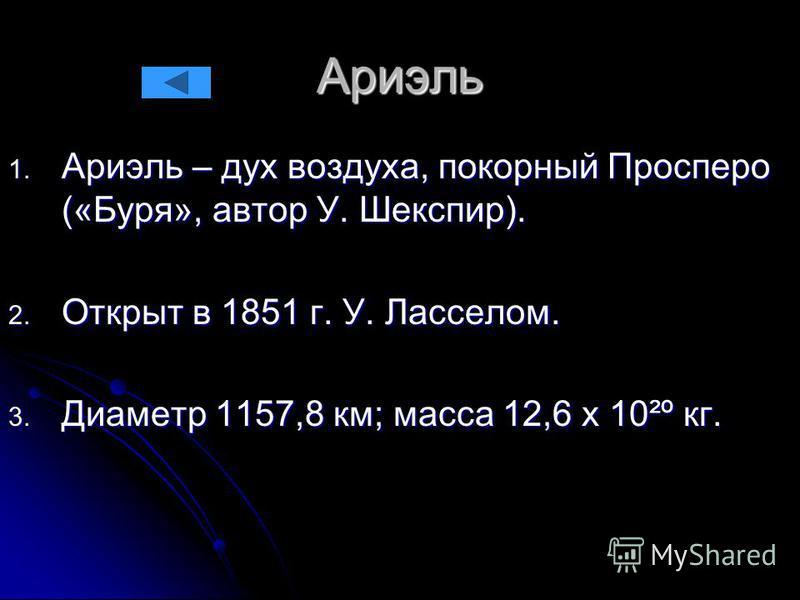 Ариэль 1. Ариэль – дух воздуха, покорный Просперо («Буря», автор У. Шекспир). 2. Открыт в 1851 г. У. Ласселом. 3. Диаметр 1157,8 км; масса 12,6 х 10²º кг.