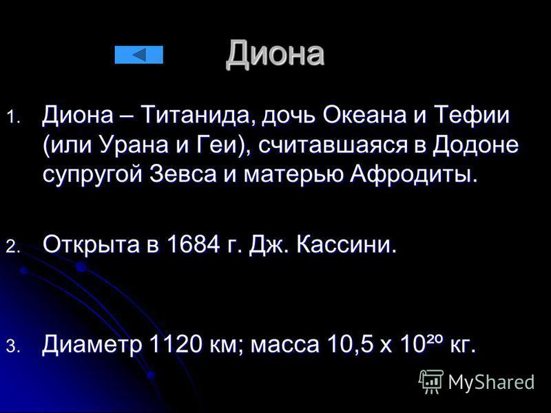 Диона 1. Диона – Титанида, дочь Океана и Тефии (или Урана и Геи), считавшаяся в Додоне супругой Зевса и матерью Афродиты. 2. Открыта в 1684 г. Дж. Кассини. 3. Диаметр 1120 км; масса 10,5 х 10²º кг.