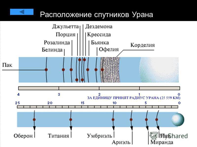 Расположение спутников Урана