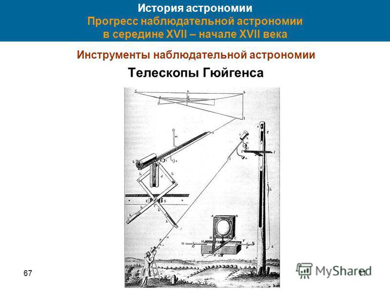 6711 История астрономии Прогресс наблюдательной астрономии в середине XVII – начале XVII века Инструменты наблюдательной астрономии Телескопы Гюйгенса