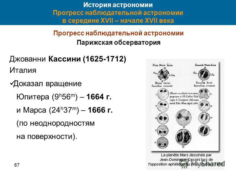 6730 История астрономии Прогресс наблюдательной астрономии в середине XVII – начале XVII века Прогресс наблюдательной астрономии Парижская обсерватория Джованни Кассини (1625-1712) Италия Доказал вращение Юпитера (9 h 56 m ) – 1664 г. и Марса (24 h 3