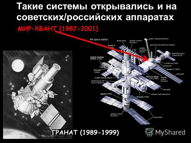 МИР-КВАНТ (1987-2001) ГРАНАТ (1989-1999) Такие системы открывались и на советских/российских аппаратах