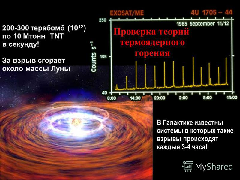 200-300 терабомб (10 12 ) по 10 Мтонн TNT в секунду! За взрыв сгорает около массы Луны В Галактике известны системы в которых такие взрывы происходят каждые 3-4 часа! Проверка теорий термоядерного горения
