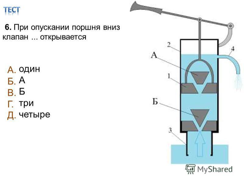 6. При опускании поршня вниз клапан... открывается один А Б три четыре А. Б. В. Г. Д.