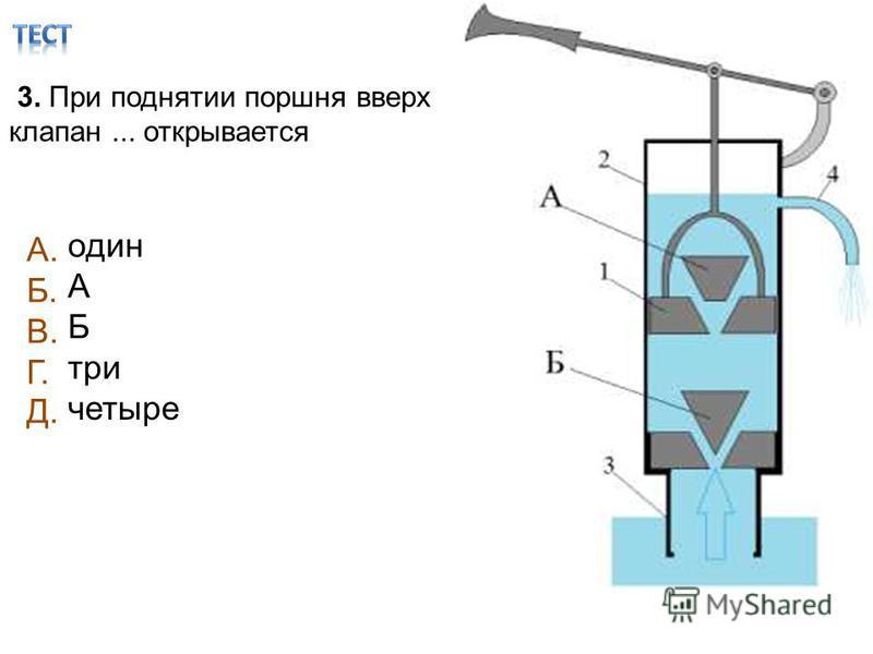 3. При поднятии поршня вверх клапан... открывается один А Б три четыре А. Б. В. Г. Д.