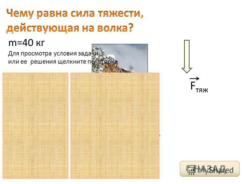 m=40 кг F тяж Для просмотра условия задачи или ее решения щелкните по шторке НАЗАД