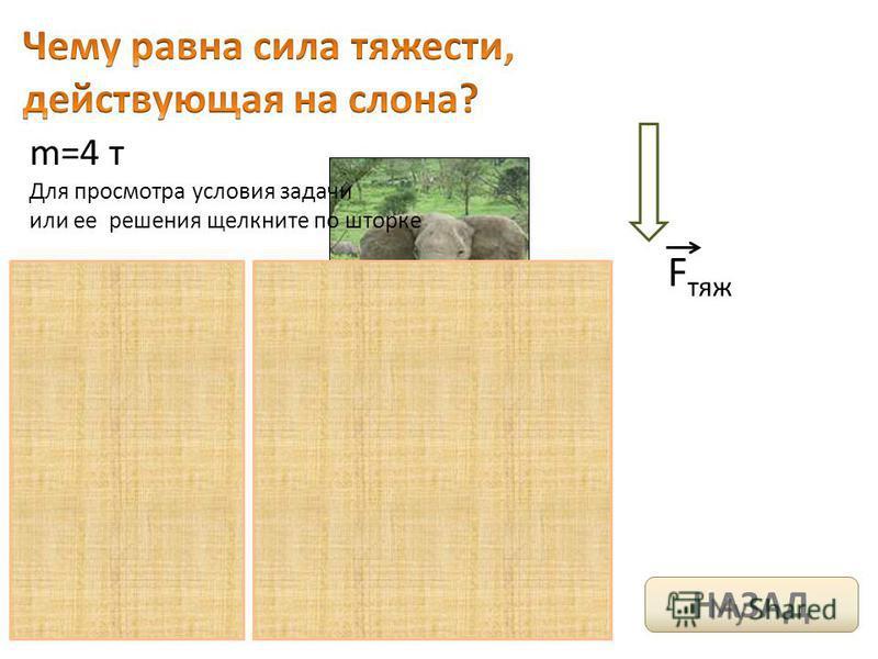 m=4 т F тяж Для просмотра условия задачи или ее решения щелкните по шторке НАЗАД