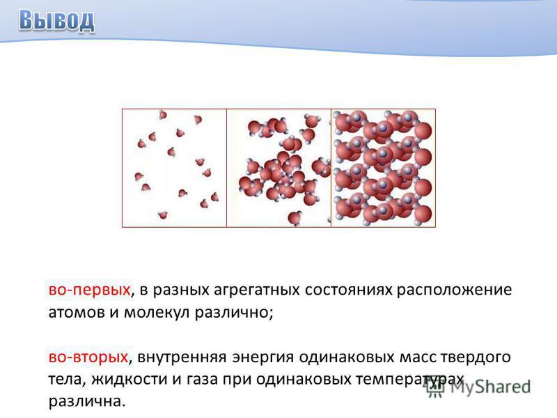 во-первых, в разных агрегатных состояниях расположение атомов и молекул различно; во-вторых, внутренняя энергия одинаковых масс твердого тела, жидкости и газа при одинаковых температурах различна.
