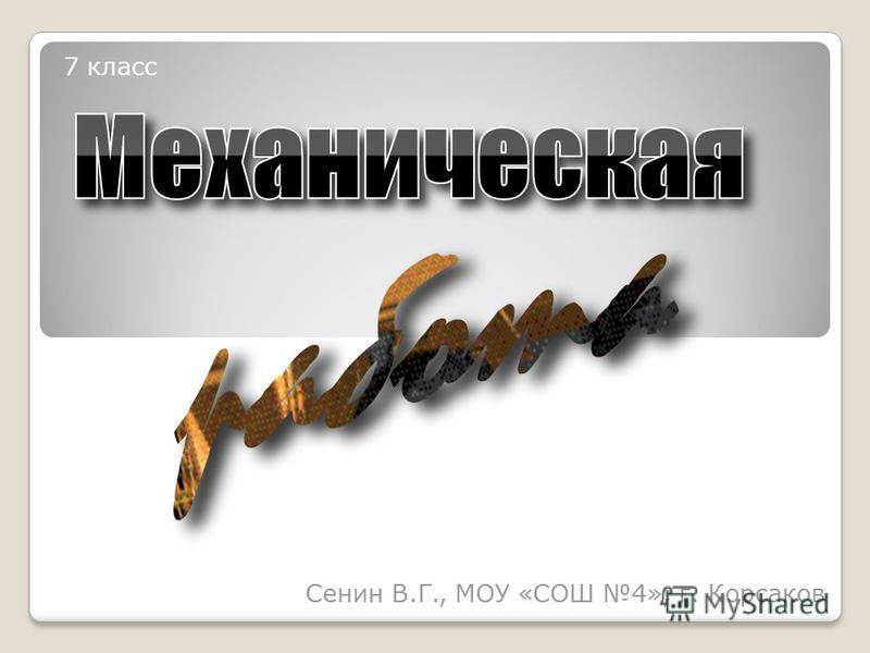 Сенин В.Г., МОУ «СОШ 4», г. Корсаков 7 класс