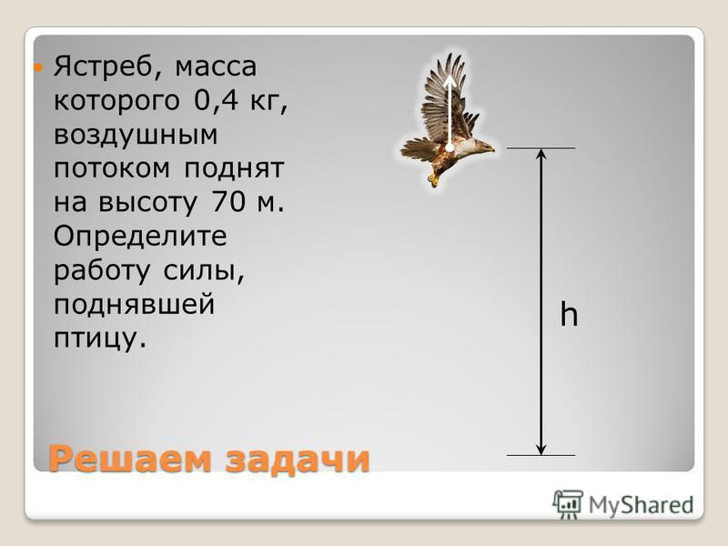 Решаем задачи Ястреб, масса которого 0,4 кг, воздушным потоком поднят на высоту 70 м. Определите работу силы, поднявшей птицу. h