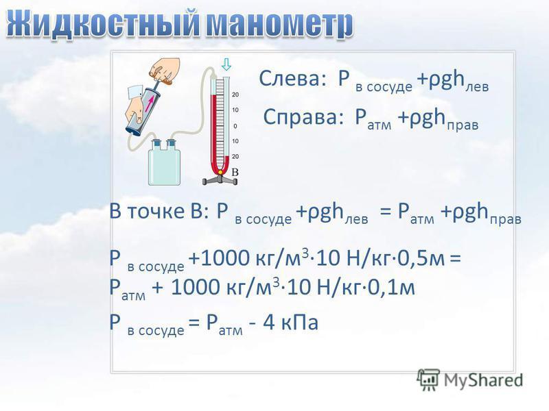 Слева: Р в сосуде +ρgh лев Справа: Р атм +ρgh прав В точке В: Р в сосуде +ρgh лев = Р атм +ρgh прав Р в сосуде +1000 кг/м 3 ·10 Н/кг·0,5 м = Р атм + 1000 кг/м 3 ·10 Н/кг·0,1 м Р в сосуде = Р атм - 4 к Па