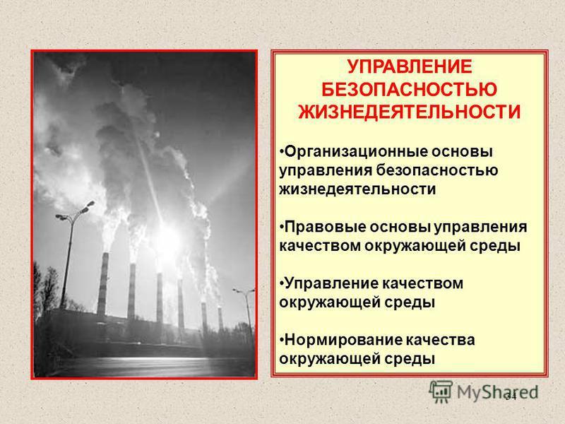 УПРАВЛЕНИЕ БЕЗОПАСНОСТЬЮ ЖИЗНЕДЕЯТЕЛЬНОСТИ Организационные основы управления безопасностью жизнедеятельности Правовые основы управления качеством окружающей среды Управление качеством окружающей среды Нормирование качества окружающей среды 34