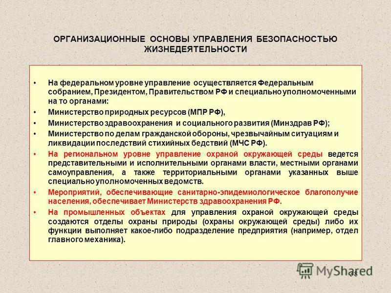 ОРГАНИЗАЦИОННЫЕ ОСНОВЫ УПРАВЛЕНИЯ БЕЗОПАСНОСТЬЮ ЖИЗНЕДЕЯТЕЛЬНОСТИ На федеральном уровне управление осуществляется Федеральным собранием, Президентом, Правительством РФ и специально уполномоченными на то органами: Министерство природных ресурсов (МПР