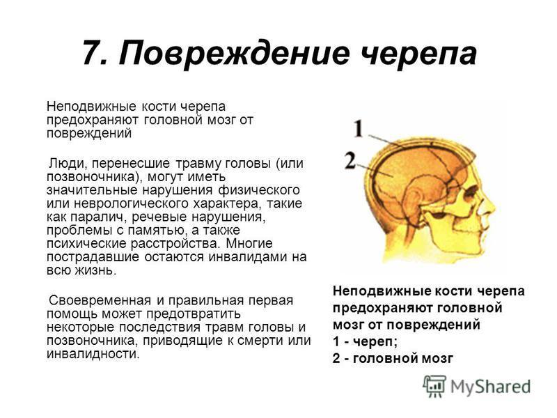 7. Повреждение черепа Неподвижные кости черепа предохраняют головной мозг от повреждений Люди, перенесшие травму головы (или позвоночника), могут иметь значительные нарушения физического или неврологического характера, такие как паралич, речевые нару